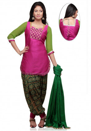 Plain Dupion Silk Punjabi Suit in Fuchsia