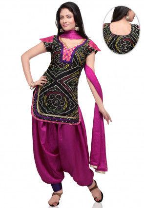 Bandhani Printed Crepe Punjabi Suit in Black