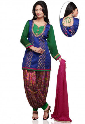 Embroidered Dupion and Chanderi Silk Punjabi Suit in Blue