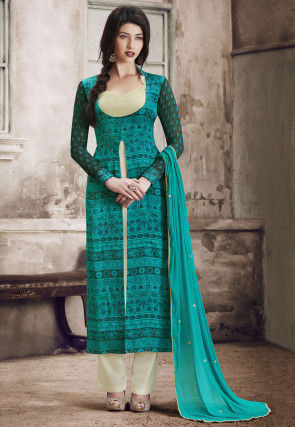Printed Satin Pakistani Suit in Teal Blue
