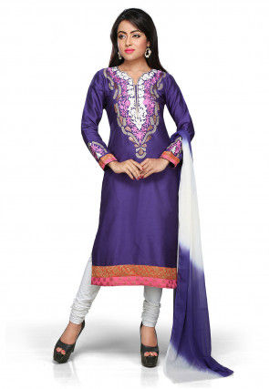 Embroidered Art Silk Straight Suit in Purple