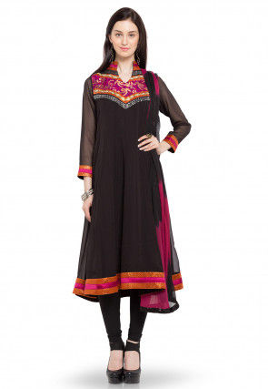 Embroidered Anarkali Georgette Suit in Dark Brown