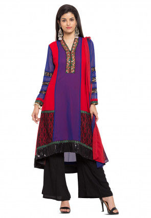 Plain Georgette Asymmetric Pakistani Suit in Royal Blue and Red