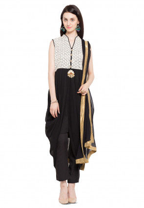 Plain Georgette Dhoti Style Suit in Black and Off White