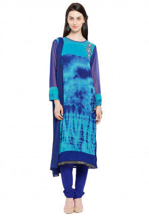 Printed Georgette Straight Cut Suit in Blue