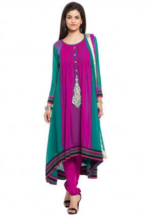 Plain Georgette Asymmetric A Line Suit in Fuchsia and Teal Green