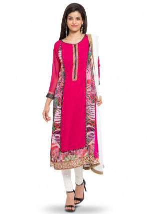 Printed Georgette Straight Suit in Fuchsia