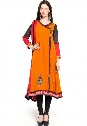 Embroidered Georgette Angrakha Suit in Orange