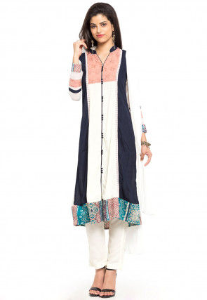 Embroidered Cotton Rayon A Line Suit in Off White and Blue