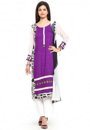 Printed Cotton Rayon Pakistani Suit in Purple and Off White