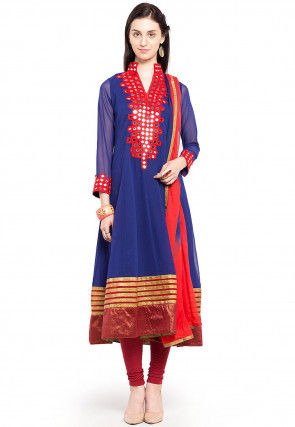 Embroidered Georgette Anarkali Suit in Blue