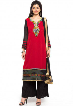 Embroidered Neckline Georgette Pakistani Suit in Red