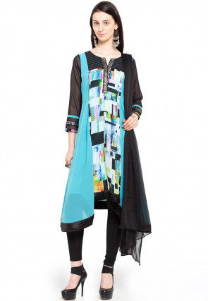 Printed Rayon Cotton A Line Asymmetric Suit in Multicolor