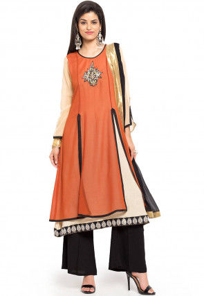 Layered Georgette A Line Suit in Orange