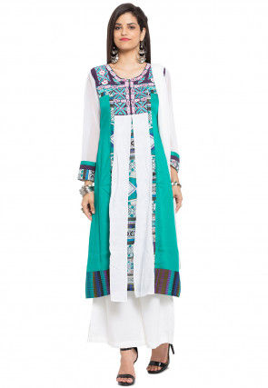 Printed Georgette Pakistani Suit in Teal Green and White