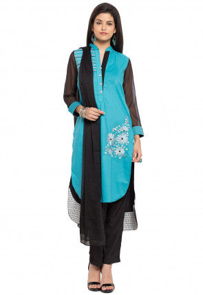 Embroidered Cotton Pakistani Suit in Sky Blue and Black