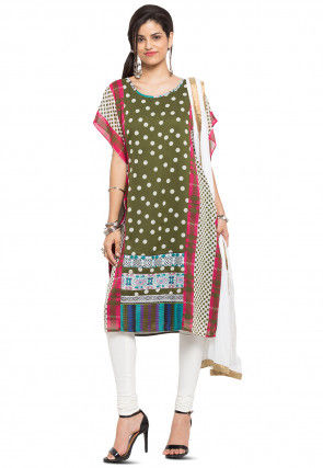 Printed Georgette Straight Suit in Olive Green