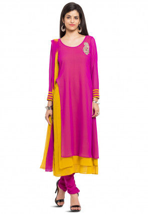 Plain Georgette Layered Straight Suit in Fuchsia