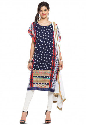 Printed Georgette Straight Suit in Navy Blue