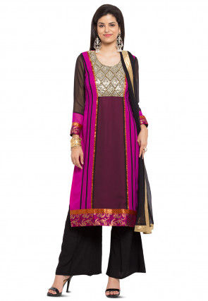 Embroidered Yoke Georgette Pakistani Suit in Maroon and Fuchsia