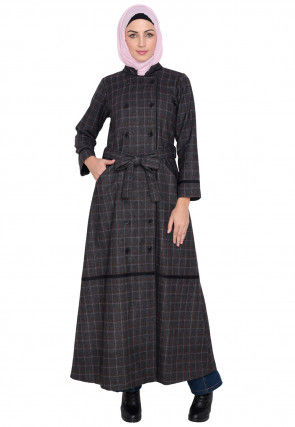 Knitted Woolen Front Open Coat Style Abaya in Charcoal
