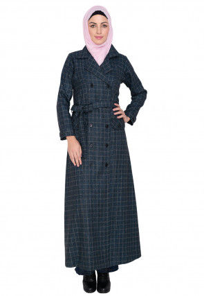 Knitted Woolen Front Open Coat Style Abaya in Dark Teal Blue