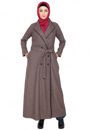 Knitted Woolen Front Open Coat Style Abaya in Light Brown
