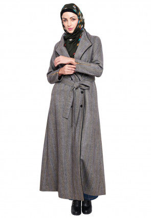 Knitted Woolen Front Open Coat Style Abaya in Light Grey
