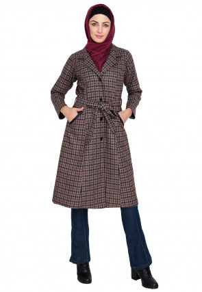 Knitted Woolen Overcoat Jacket in Light Brown