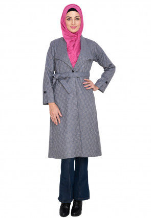 Knitted Woolen Overcoat Jacket in Light Grey
