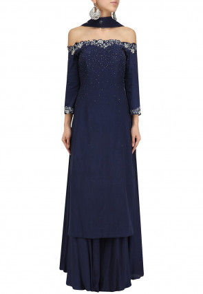 Hand Embroidered Georgette Pakistani Suit in Navy Blue