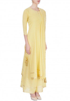 Plain Cotton Pakistani Suit in Yellow