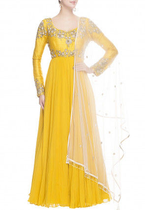 Hand Embroidered Georgette Abaya Style Suit in Yellow