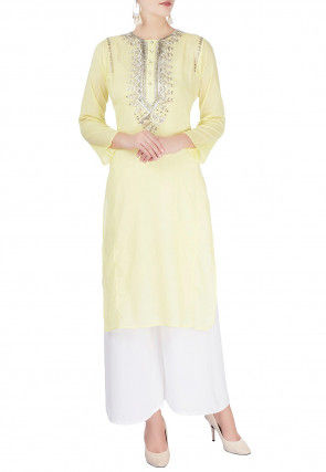 Hand Embroidered Cotton Rayon Pakistani Suit in Light Yellow
