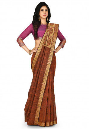 Kovai South Pure Cotton Saree in Brown