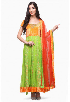 Embroidered Net Abaya Style Suit in Green and Orange