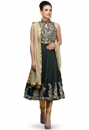 Embroidered Rayon  Anarkali Suit in Black