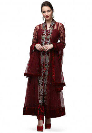 Hand Embroidered Net Anarkali Suit in Maroon