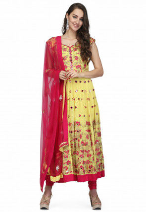Embroidered Pure Georgette Anarkali Suit in Yellow