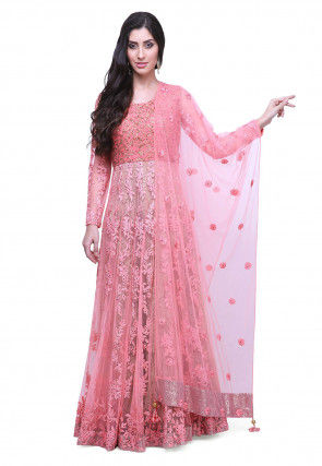 Hand Embroidered Net Abaya Style Suit in Peach