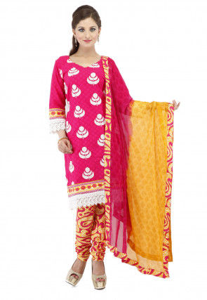 Embroidered Cotton Straight Cut Suit in Fuchsia
