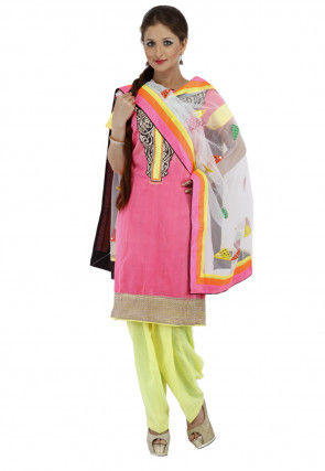 Embroidered Chanderi Cotton Punjabi Suit in Pink