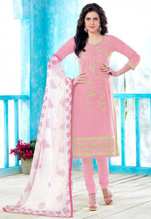 Embroidered Poly Cotton Straight Cut Suit in Pink