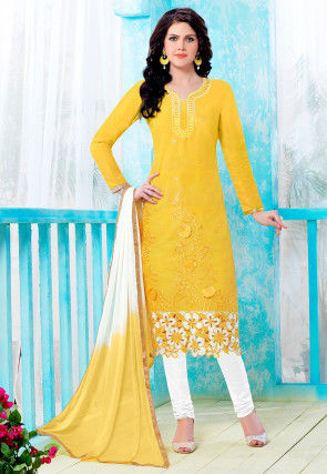 Embroidered Poly Cotton Straight Cut Suit in Yellow