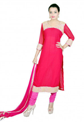 Embroidered Straight Cut Suit In Fuchsia
