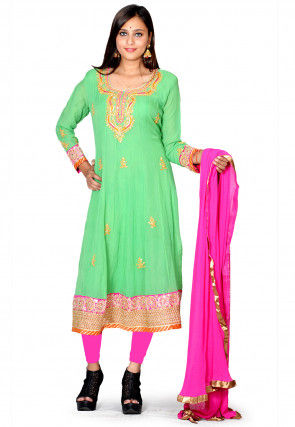 Hand Embroidered Pure Georgette A line Suit in Green