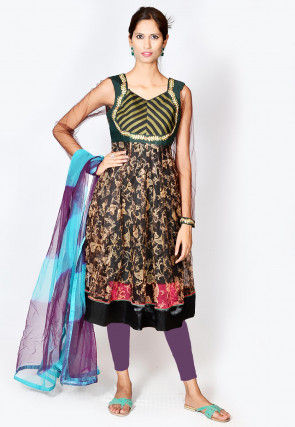 Digital Printed Net Anarkali Suit in Dark Brown
