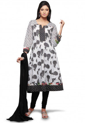 Printed Cotton Anarkali Suit in White and Black