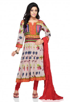 Printed Anarkali Cotton Suit In Multicolor