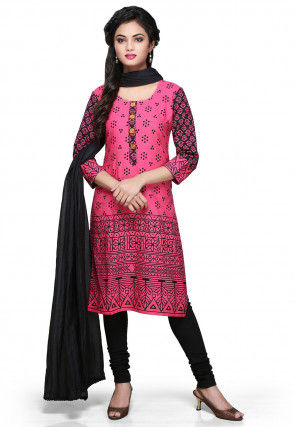 Printed Straight Cut Suit in Pink